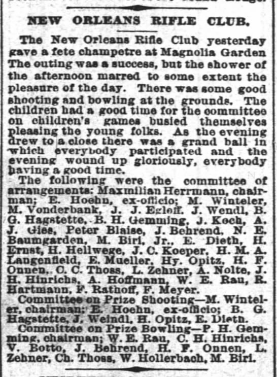 John Behrend, NO Rifle Club 4/28/1890, Time-Picayune