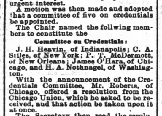 J.H. Heavin - Credentials Committee 1884 - urgent interest. A motion was then made and...