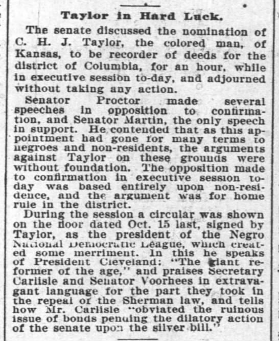 1894-05-09-TimesPicayune-p8-TaylorInHardLuck - Taylor in Hard Lack. The senate discussed the...