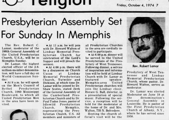 Jackson SUN - Presbyterian Assembly Set For Sunday In Memphis...