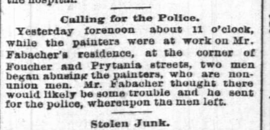 House on Prytania painted 23 sep 1890 tp - Calling for the Police. Yesterday forenoon...