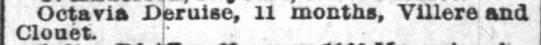 Octavia Deruise 11 month Villere and Clouet 10.7.1890 - Octavia Deruise, 11 months, VUlere and Clouet !'