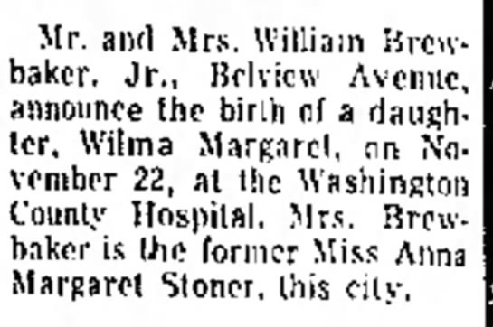 - m n . lo s Mr. and Mrs. William Brewbaker....