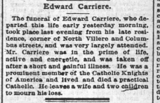 Edward Carriere = OBIT 29 Oct 1890 - Edward Carriere. : The funeral of Edward...