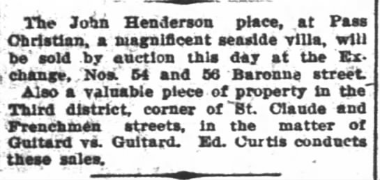 Guitard vs Guitard - The John Henderson place, at Pass Christian, a...