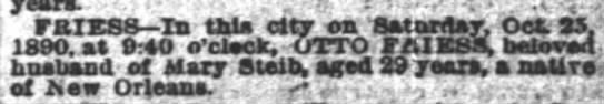 Otto Friess Obit dod Oct 25 1890