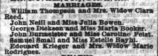 Marriage Announcement, John Burmeister (Burmaster) and Caroline Feist, Feb 7, 1884