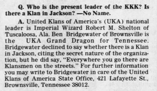 - Q. Who is the present leader of the KKK? Is...
