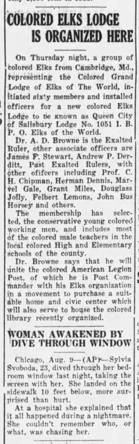 The Daily Times (Salisbury, Maryland) 09 Aug 1940, Fri Page 2 - COLORED ELKS LODGE IS ORGANIZED HERE On...