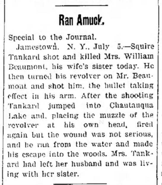 Squire Tankard article. - Ran Amuck, Special to the Journal. Jamestown....