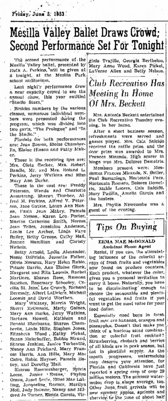 "5 June 1953 Las Cruces Sun News  Ruth Perkins ballet - Fridiy,"" JUn«"" 5; 1SS3 '. Mesilla Valley..."