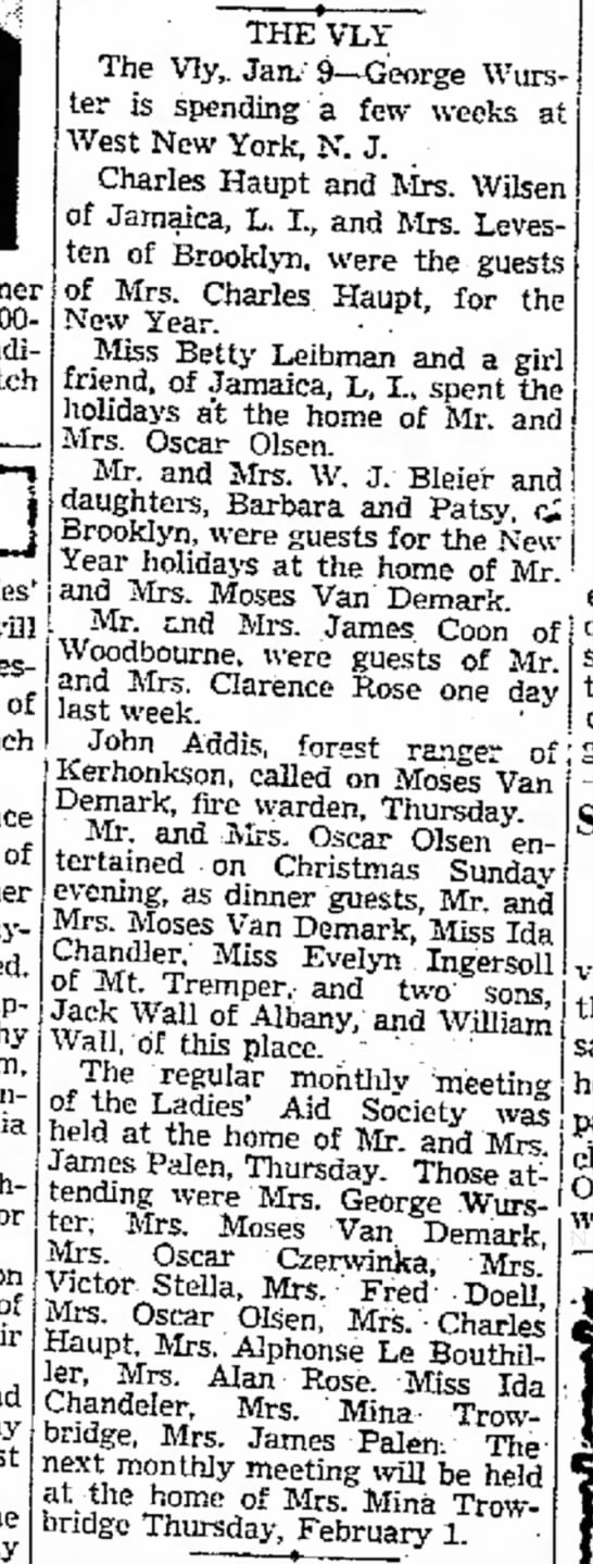 The Vly 9 Jan 1940 - will of Lunch Simps?n, Poughkeepsie, for and...
