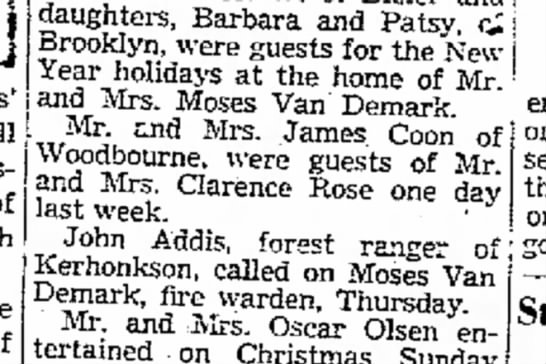 The Vly 9 Jan 1940 - Clarence Sr. - will of daughters, Barbara and Patsy Brooklyn,...