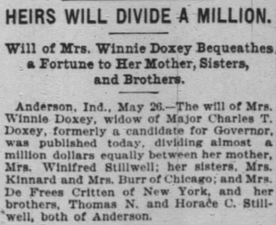 winnie doxey will; chi trib, 27 may 1899, p 3 - HEIRS WILL DIVIDE 4 : 4 : MILLION. MILLION...