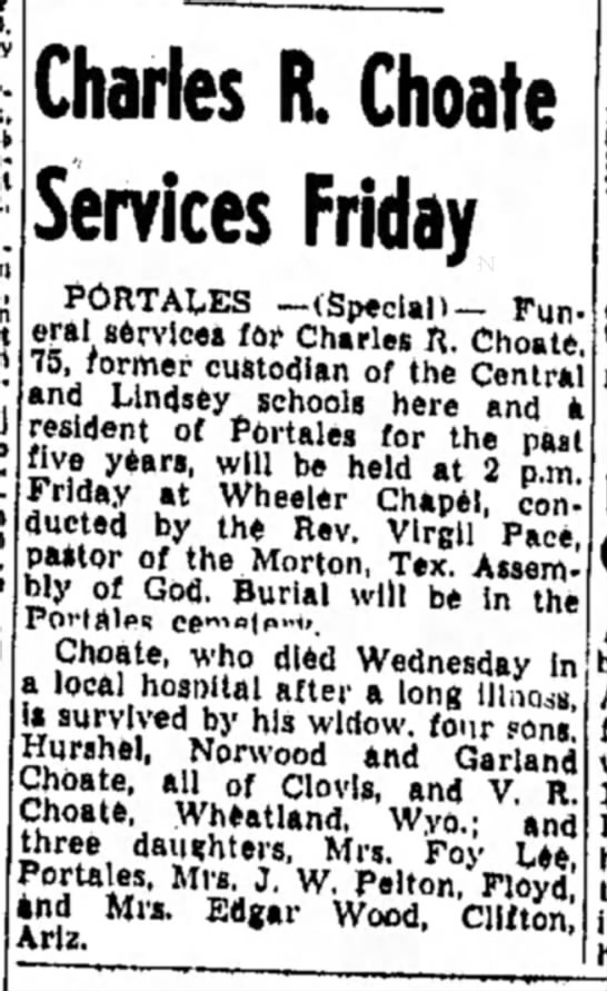 Mollie's Brother - , Charles R. Choate Services Friday PORTALES...