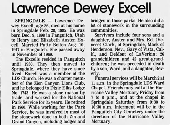 Lawrence Dewey Excell; Obit. - Lawrence Dewey Excel I SPRINGDALE Lawrence...