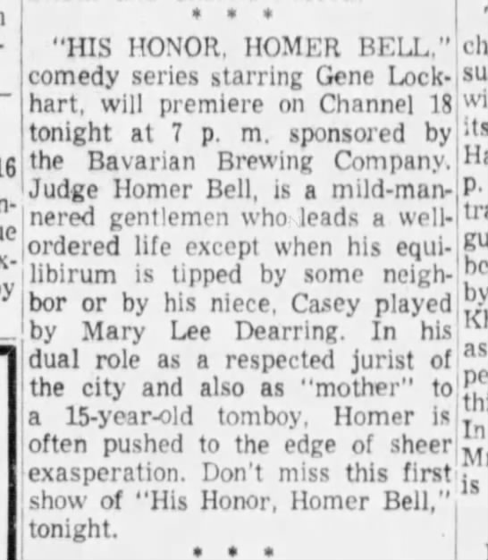 """- """"HIS HONOR, HOMER BELL,"""" comedy series starring..."""