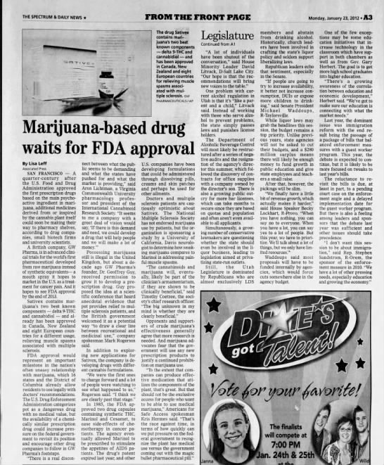 2012 Sativex awaits FDA approval - THE SPECTRUM & DAILY NEWS FROM THE FRONT PAGE...