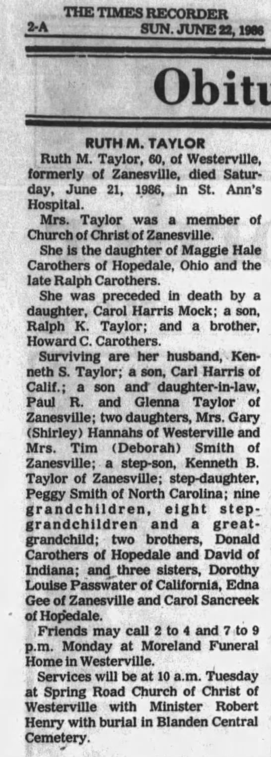 Ruth Carothers Taylor - , THE TIMES RECORDER A SUN. JUNE g. 1986 RUTH...