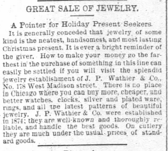 Joseph P. Wathier jewelers suggests presents for Christmas - GEE AT SALE OF JEWELRY A Pointer for Holiday...