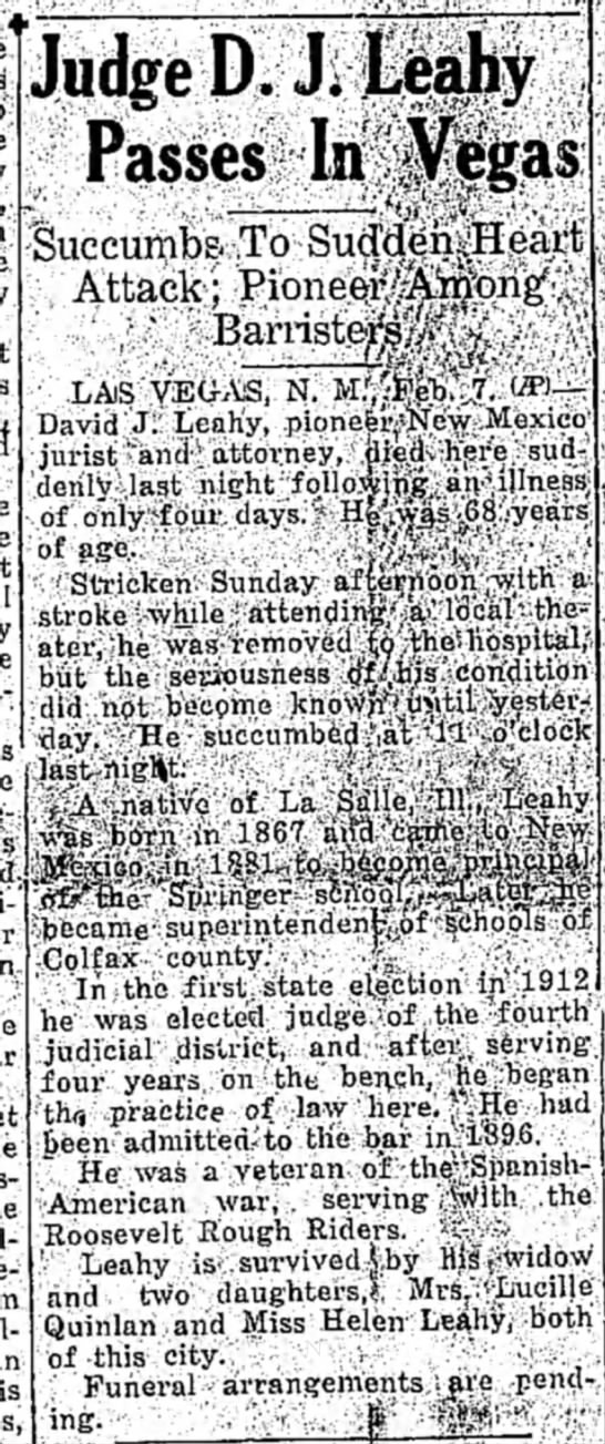 Death D J Leahy 7 Feb 1935