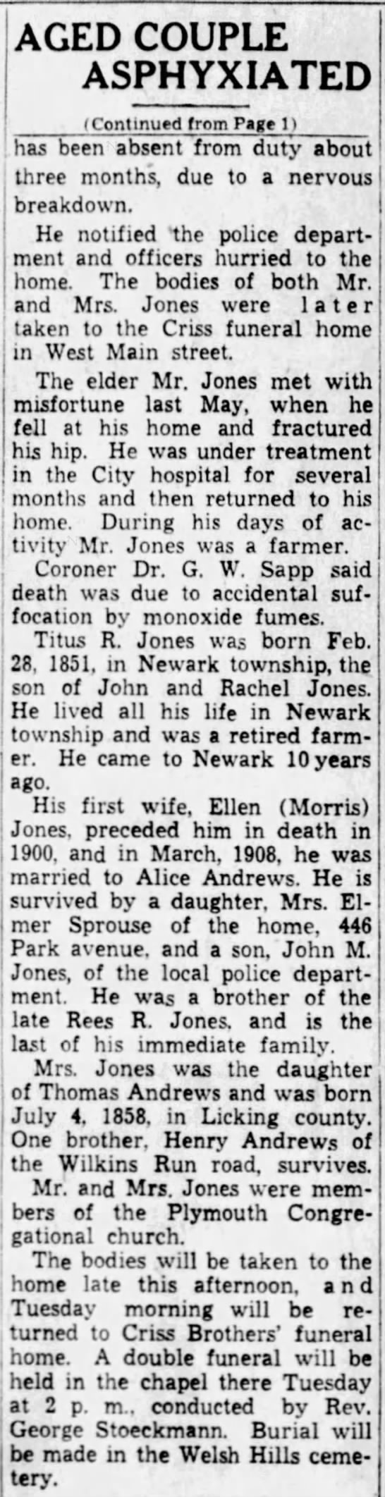 Elenor JONES Sprouse finds Mr and Mrs Titus Jones Dead in Bed - 2 - AGED COUPLE ASPHYXIATED (Continued from Page 1)...