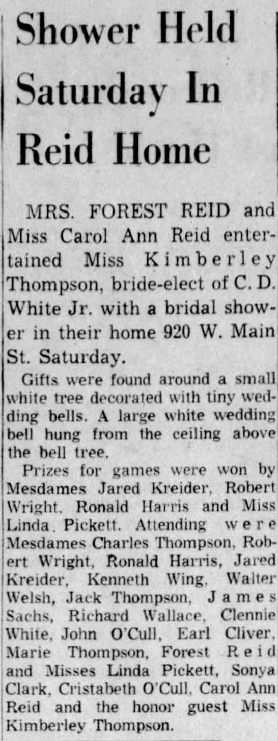 Mom-Kimberley Thompson bridal shower - Shower Held Saturday In Reid Home MRS. FOREST...