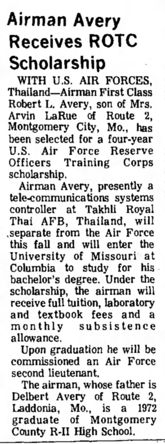 """Airman Avery REceives ROTC Scholarship,"" Mexico (Missouri) Ledger, 21 August 1974, p.10, col. 2."