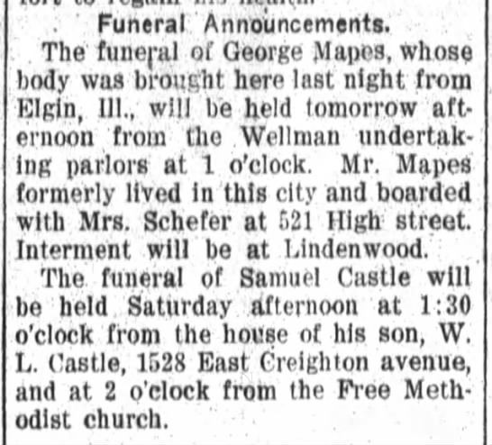 1907 Jul 4 Castle, Samuel Funeral Announcement - Funeral Announcements The funeral of George...