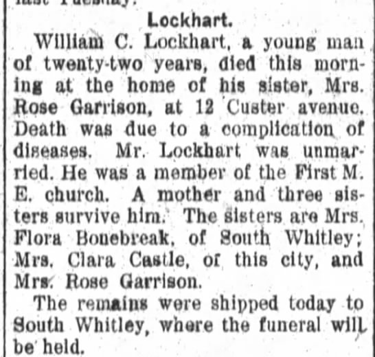1907 Aug 23 William Lockhart death notice - Lcckhart William C Lockhart a young man of...
