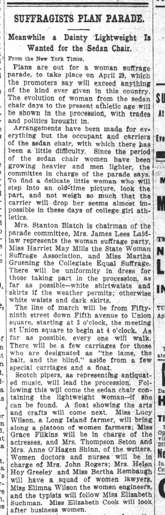 1911 03 30 the washington post p4 SUFFRAGUSTS PLAN PARADE1 - SUFFRAGISTS PLAIT PARADE a a a Meanwhile a...
