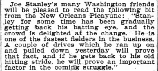 Article in The Washington Post 9 Sept 1904 page 8-Quote from New Orleans  Picayune - Joe Stanley's Stanleys Stanley's Stanleys many...