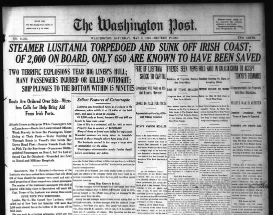 Lusitania Torpedoed! - - a iCfJv t skcsssr - t as-3 yK - 1 a - - i - -...
