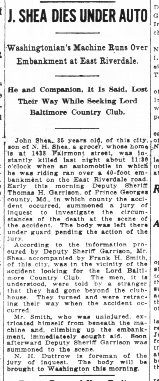 John Shea's death announcement, The Washington Post, 25 July 1916. - J SHEA DIES UNDER AUTO Washingtonians Machine...