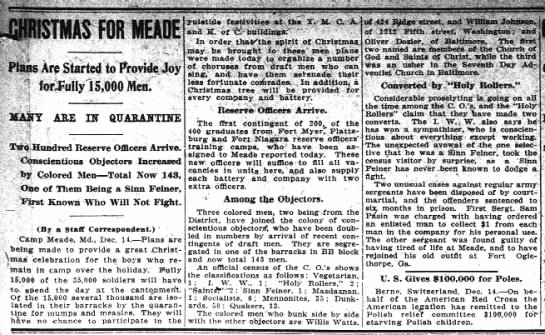 Holy Rollers among CONSCIENTIOUS OBJECTORS, Washington Post, 15 Dec 1917 p5 - 3e V li - 3 IISTMAS FOR MEADE 4 iPlans Are...