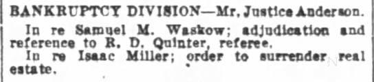 Isaac Miller bankruptcy order to surrender real estate, Wash Post 2/19/1916 - BANKRUPTCT DIVISION Mr Juities Anderson In re...