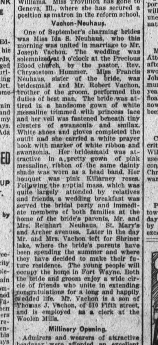 Ida Neuhaus marries Joseph Vachon at Precious Blood - Edwards his - Oct - l - Mother or - the groom...