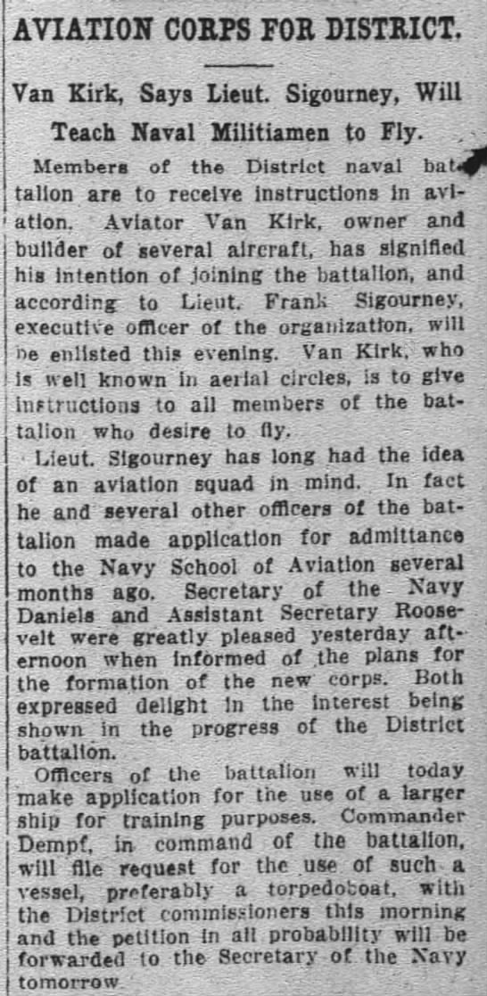 Frank Sigourney - AVIATION CORPS FOR DISTRICT Van Kirk Says Lieut...