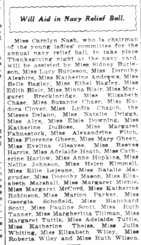 Lots of Ev's Friends WPost 11/23/1916 - I Will Aid in Navy Relttf Ball j Miss Carolyn...
