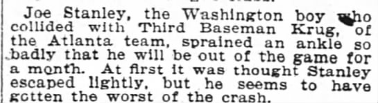 Article in The Washington Post 6 Aug 1904 page 8-Joe Stanley Injurec - Joe Stanley Stanley. Stanley Stanley. the...