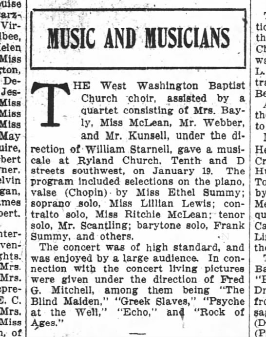 The Washington Post, 28 January 1912, Sunday, Page 12: Music and Musicians: The West Washington Bapt - - v Virginia Helen Miss De - Jessie Miss Miss...
