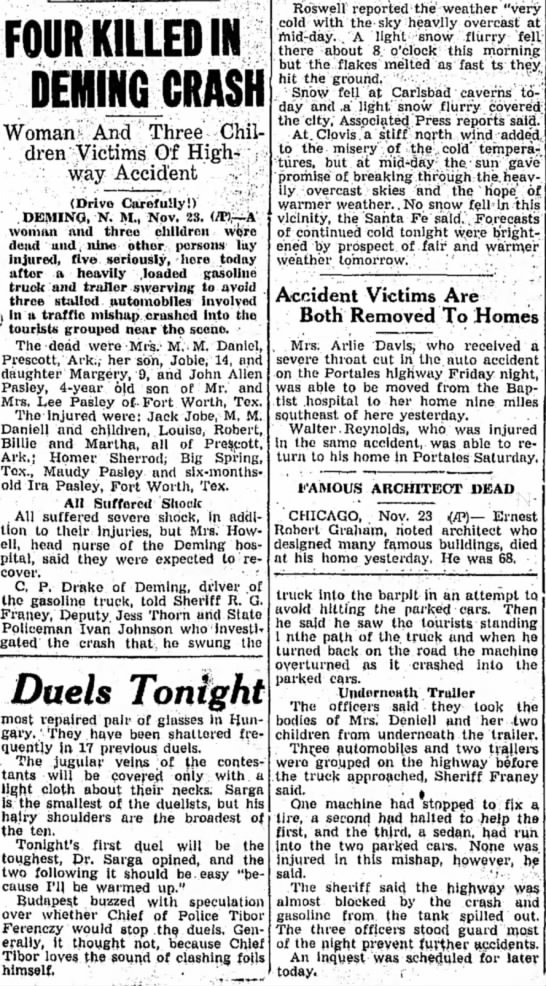 Ira Jobe Daniel accident - Deming, N.M. Nov 1936; Clovis News-Journal 23 Nov 1936 Page 1 - FOUR KILLED IN DEWING CRASH Woman' And Three...