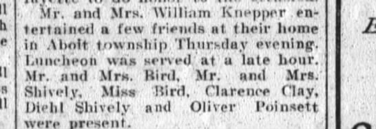 Oliver Poinsett attends dinner at William Knepper's home - Mr ahd Mr Wllliim Knepper entertainer...