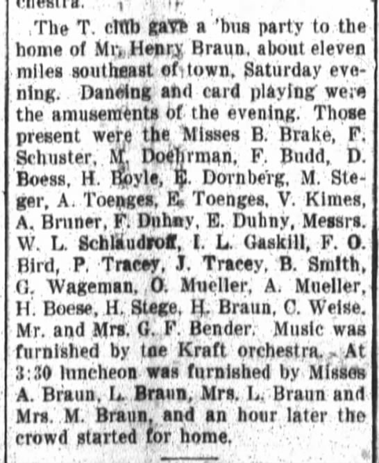 A. Toenges, E. Toenges, Fort Wayne Daily News, Wed, Sept. 30, 1908, p.2 - i The T crtlb gate a bua party to the home of...
