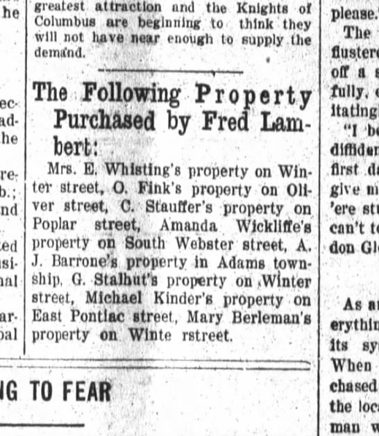 Mary Berleman property purchase 1910