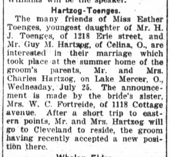 Hartzog-Toenges, Fort Wayne Daily News, Fri., July 27, 1917, p.8 - Hartzofl - Totnuts The many friends of Miss...