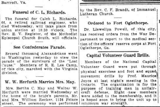 W.W. Herfurth marries Mrs. May - Barcrpft Va Funeral of C L Richards The funeral...