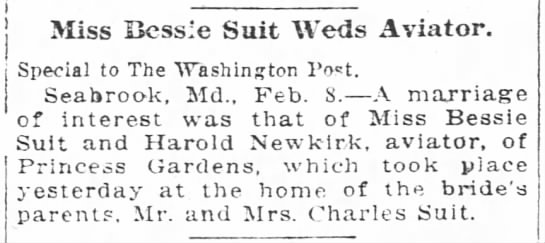 The Washington Post, 9 Feb 1920, page 3 - Miss Bess e Suit Weds Aviator Special to The...