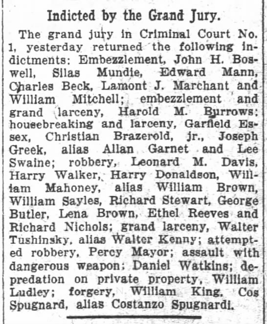 Tushinsky/Kenny 1913p - Indicted by the Grand Jury The grand juy In...