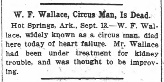 W. F. Wallace - W F Wallace Circus Jitan Is Dead Hot Springs...